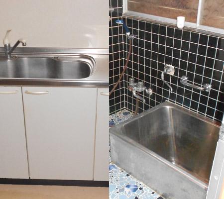 古い家のキッチンと風呂