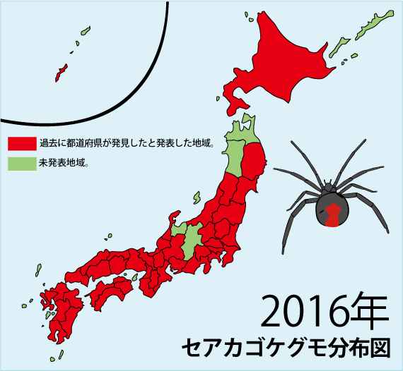 2016年までのセアカゴケグモ分布図