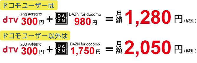 dTVとDAZN for docomoのセット割引の内訳