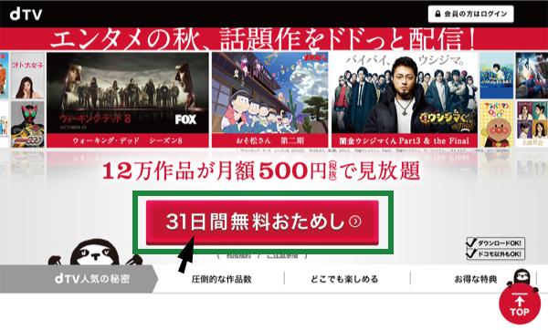 dTVのトップページから「31日間無料おためし」をクリック